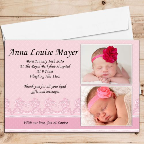 10 Personalised Baby Girl Birth Announcement Thank You PHOTO Cards N1